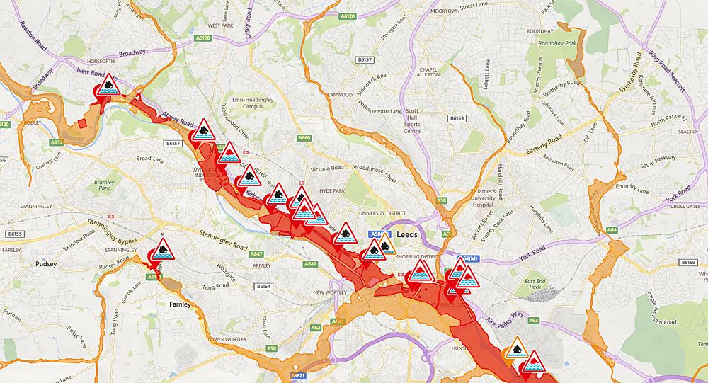 leeds flooding map